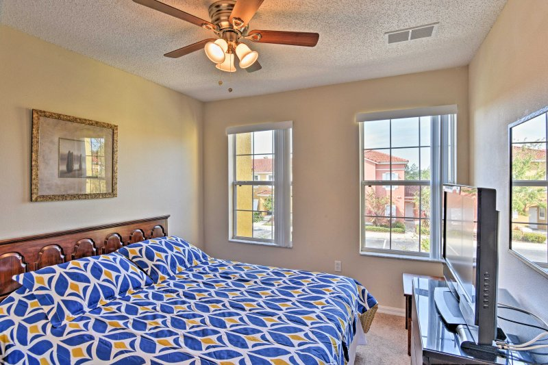 The second bedroom features a full-sized bed as well.