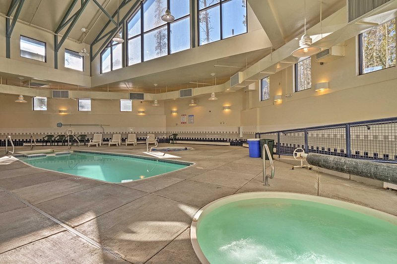 The condo has a ton of community amenities, like an indoor pool!