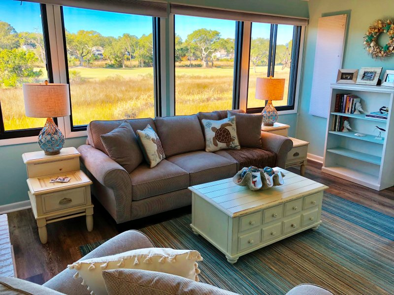 A beautiful view of the marsh from the living room.