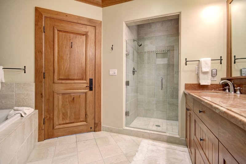 Walk in shower and separate soaking tub