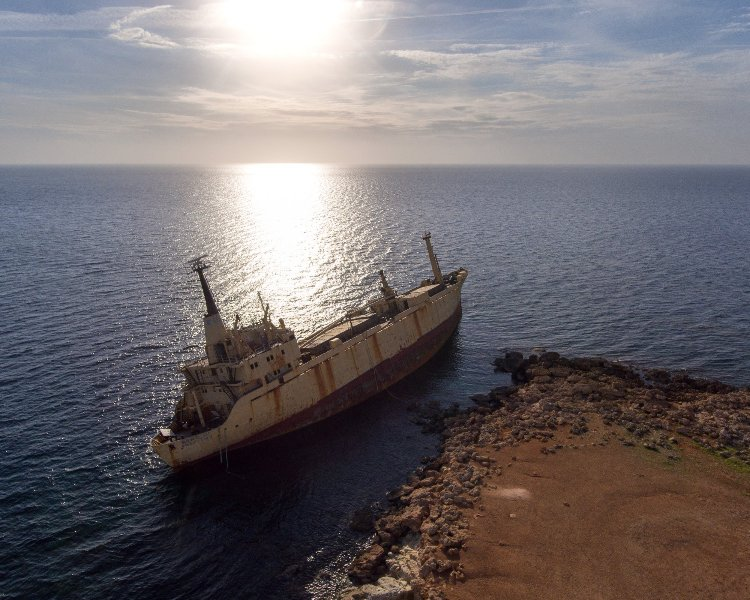 The impressive wreck of Edro III is a short drive from Villa Athina