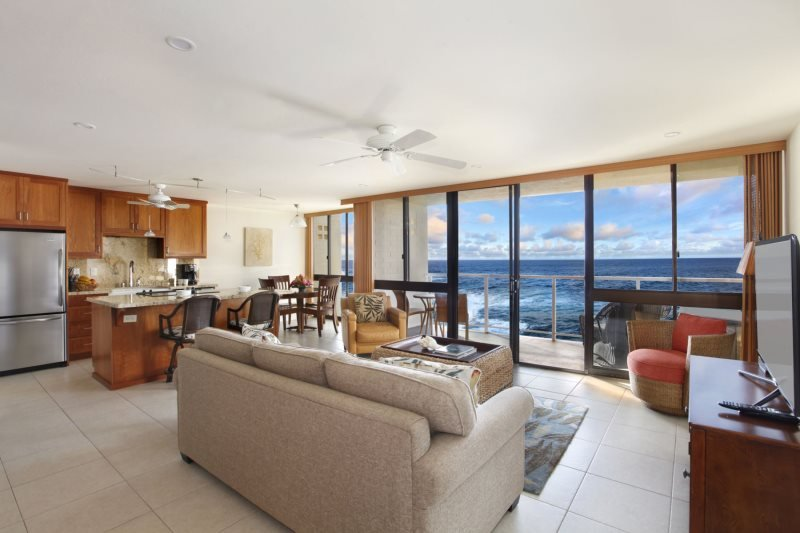 Spectacular ocean views abound in this waterfront Poipu vacation rental condo!