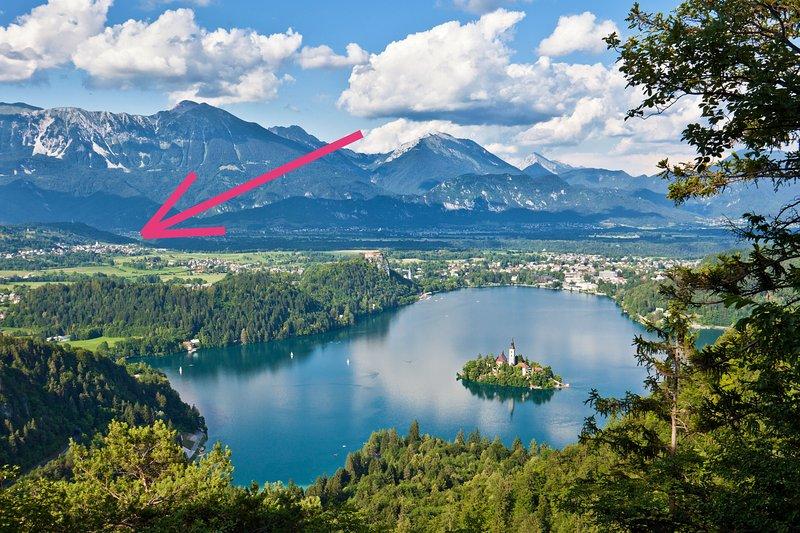 Bleder See und die Lage unserer Wohnung. Es ist eine 10-minütige Fahrt von unserer Wohnung zum See.