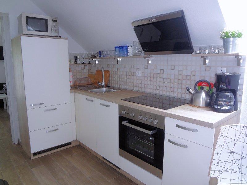 Die Küche ist sehr gut ausgestattet (Geschirrspüler, Backofen, Mikrowelle, Kühl- / Gefrierschrank, etc)