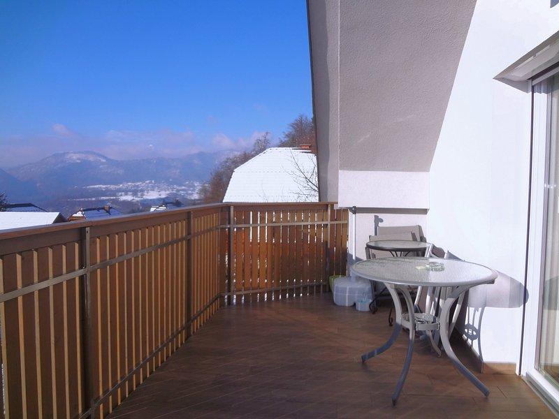 Ein Blick vom Balkon im Winter