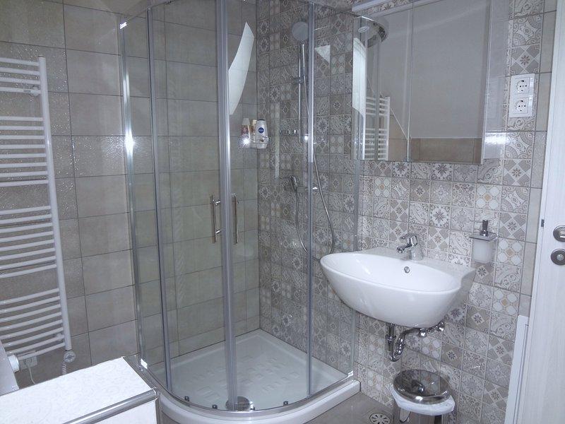 Ein Badezimmer mit einer Duschkabine aus Glas