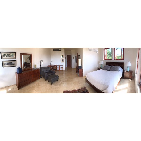 wide angle view of Master bedroom and office area