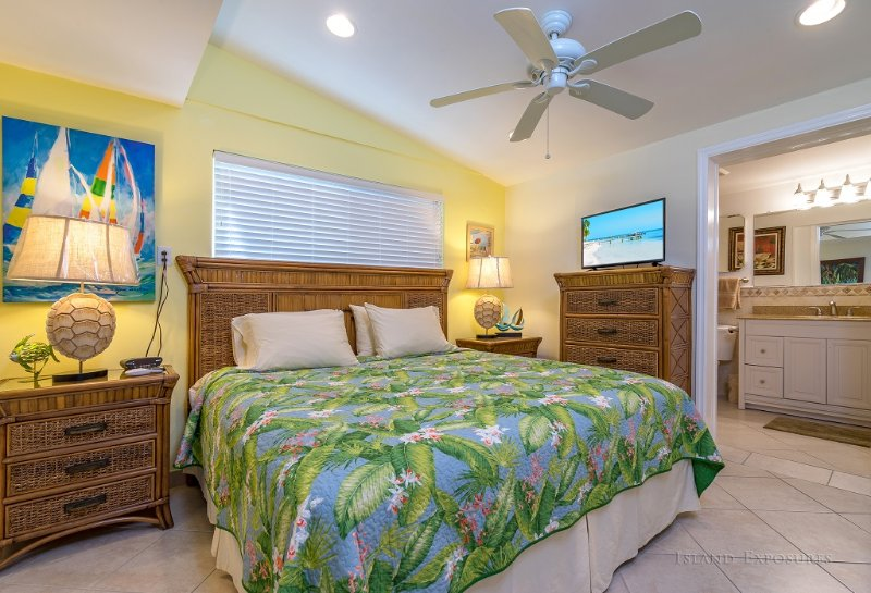 Master bedroom with King Bed, 32' TV, attached bathroom, 2 end tables and large closet
