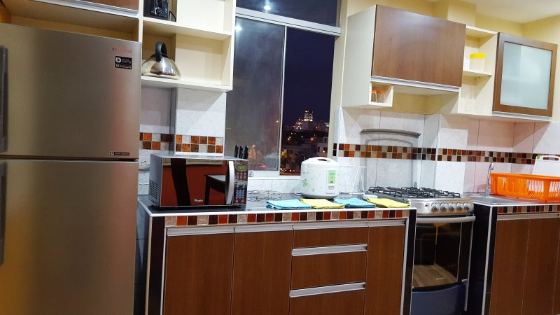 Kitchen with church view