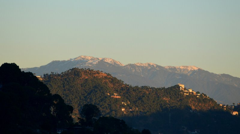 Fresh snowfall on the chur dhar as view from the balcony,
