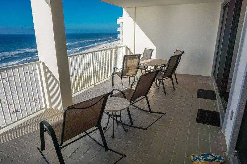 Private direct front balcony with unobstructed views of the beach and the Gulf.