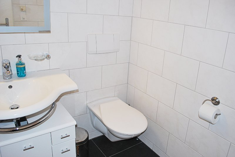 Bathroom with floor heating – so nice to step on warm tiles after a bath or shower.