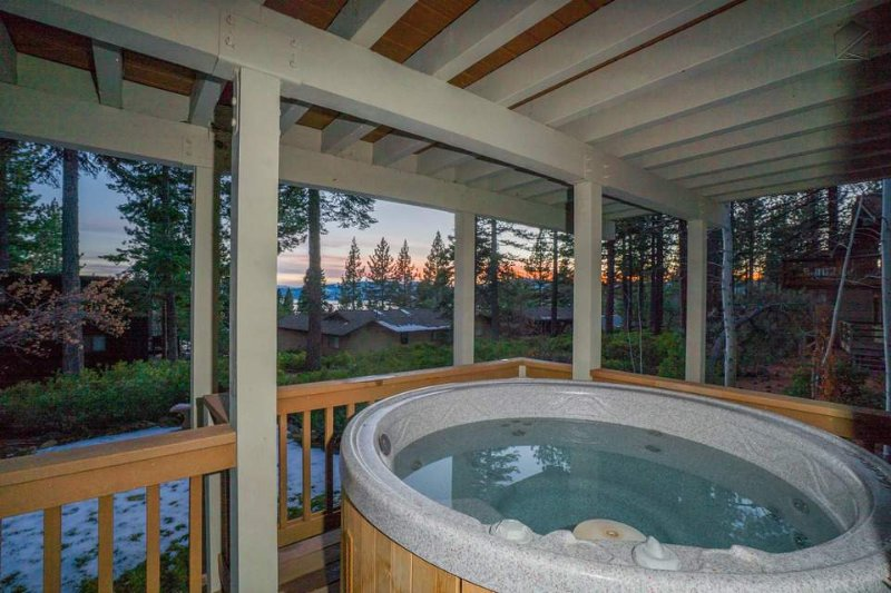 Round out your day with a relaxing soak in the private outdoor hot tub.