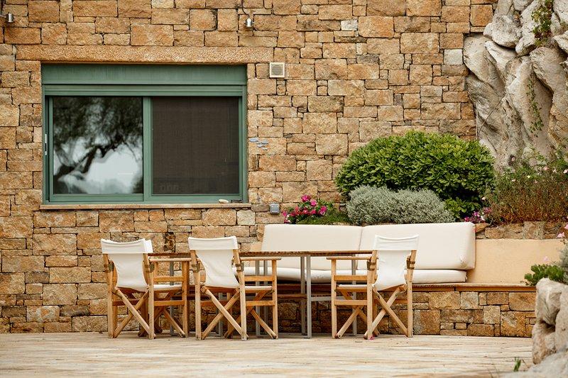 patio de la cocina, con vistas al mar
