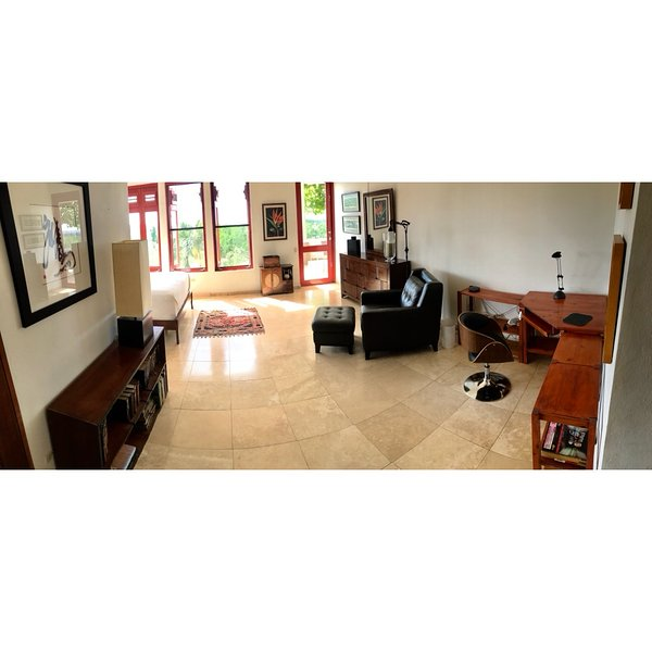 Office area for master bedroom, showing private entrance door.