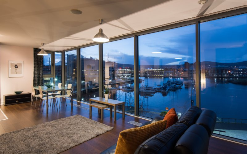 Main living room overlooking the marina.