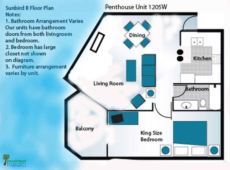 Example Floorplan.  Please see our photos and descriptions for actual furniture and placement. This penthouse 'B' floorplan is the most popular in Sunbird with a King Bedroom on the Beach!