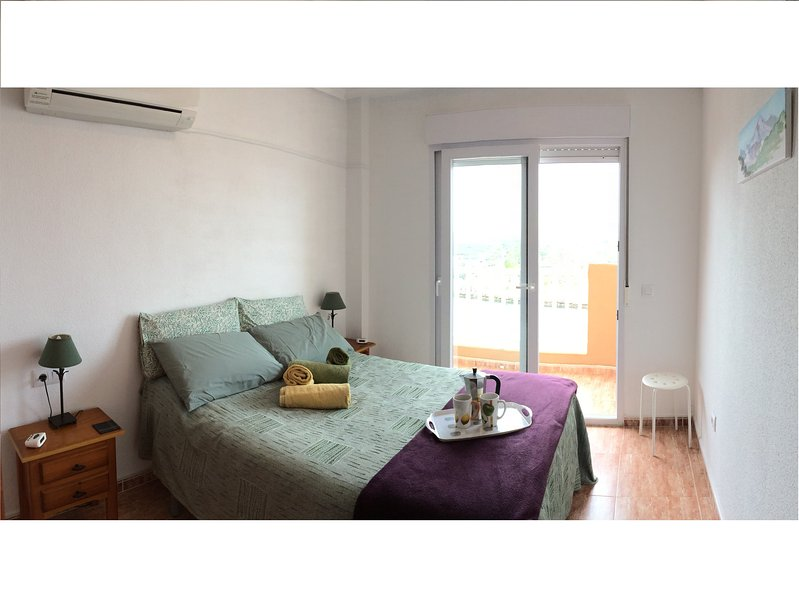 Double bedroom with aircon overlooking marina, Mar Menor and Med