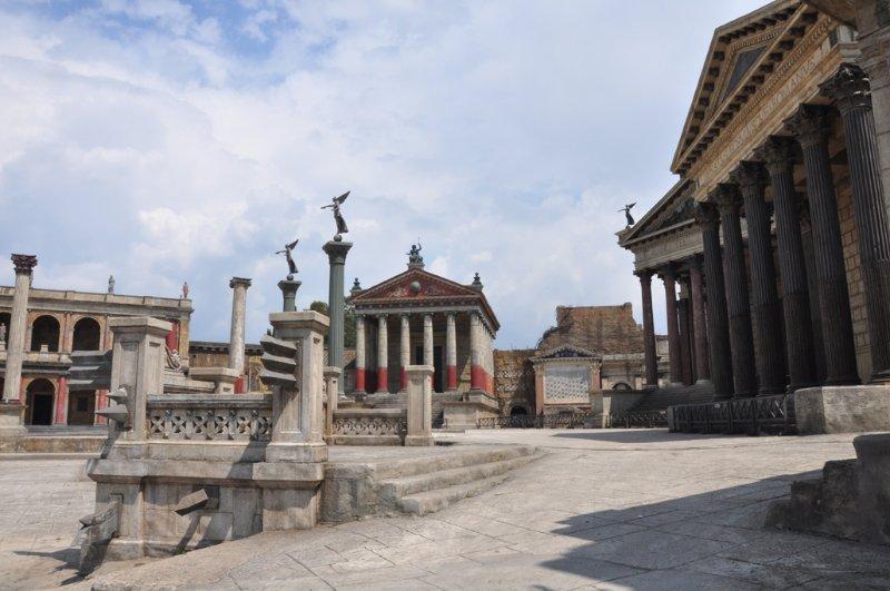 the Roman Forum reconstructed at Cinecitta Studios
