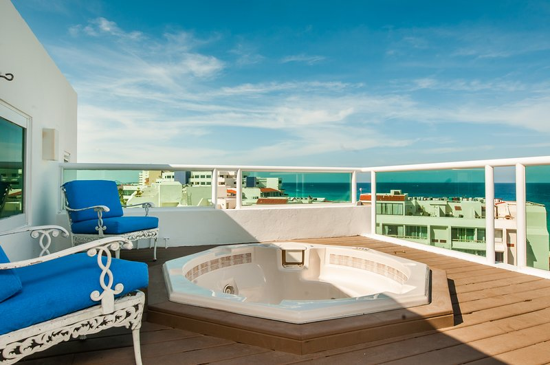Great view from the private rooftop Jacuzzi