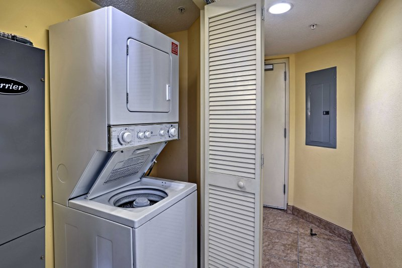 Wash the sand from your bathing suits in the in-unit laundry machines.