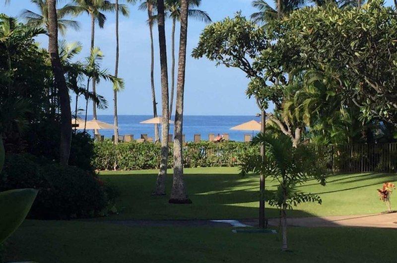 Vista al mar desde nuestro patio. Estamos a pocos pasos de la piscina frente al mar y la playa.