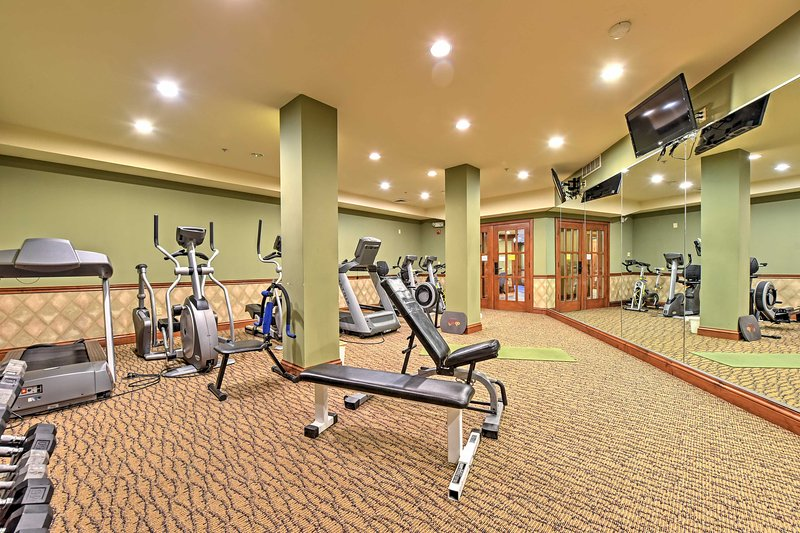 Keep up with your fitness routine using the on-site gym.