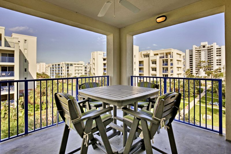 This fourth-floor unit boasts 2 balconies and accommodates up to 8 travelers.