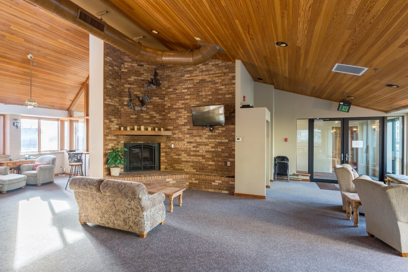 Ski Concierge Social Room w/ Fireplace and complementary coffee
