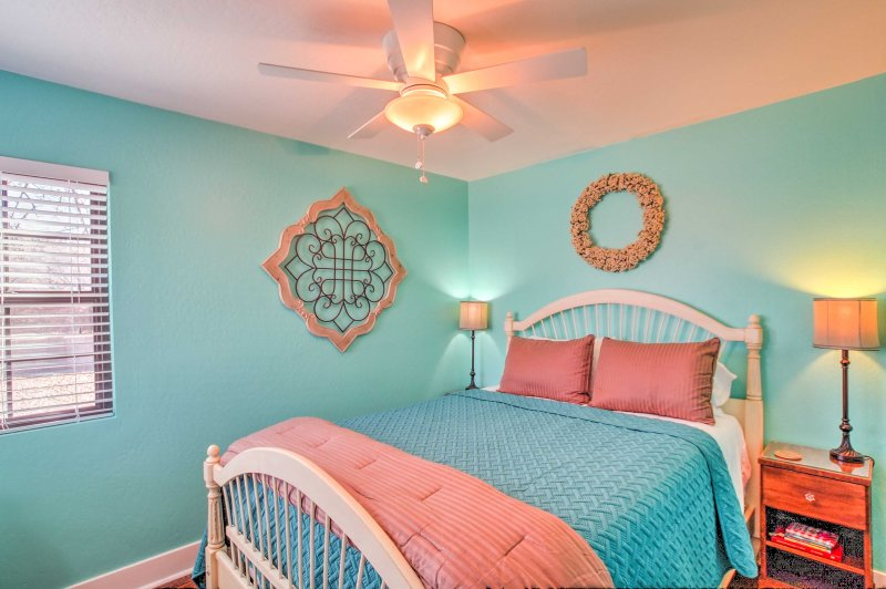 Get a great night's sleep on the queen bed in the master bedroom.