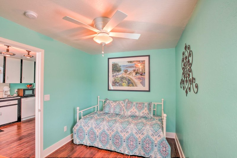 The second bedroom is equipped with a twin daybed and twin trundle.