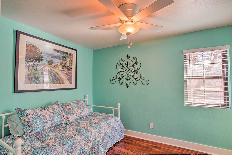 The turquoise walls highlight every room.