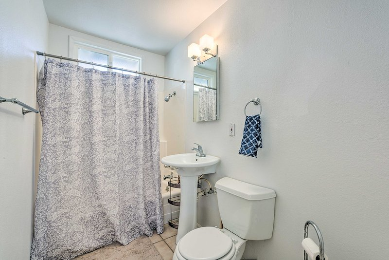 The second and final bathroom has a shower/tub combo for additional space to get ready each day.