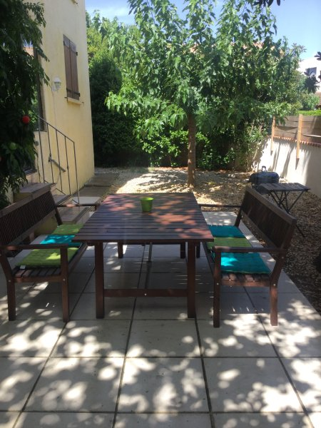 shaded outdoor dining