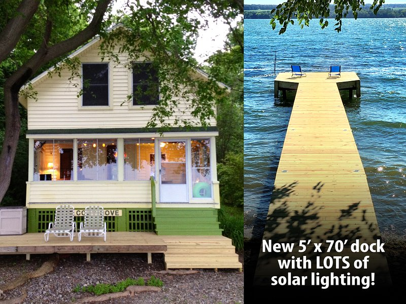 Relax only 10 feet from the water's edge on our new 70' long, 5' wide solar lit dock and deck!!