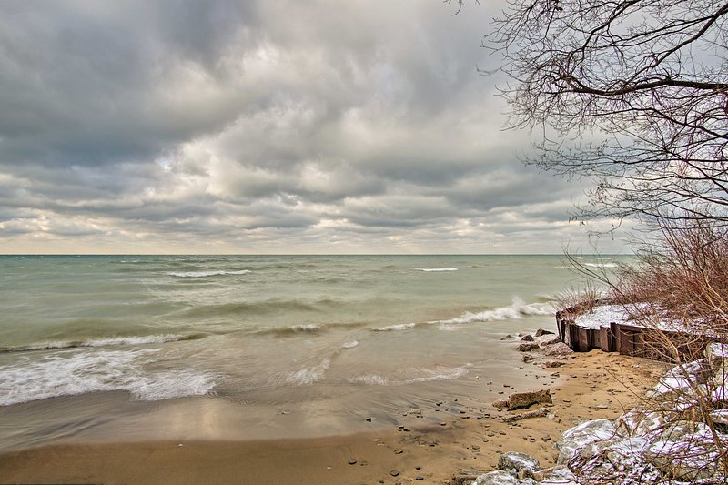 This Grand Beach vacation rental house is just steps away from Lake Michigan!