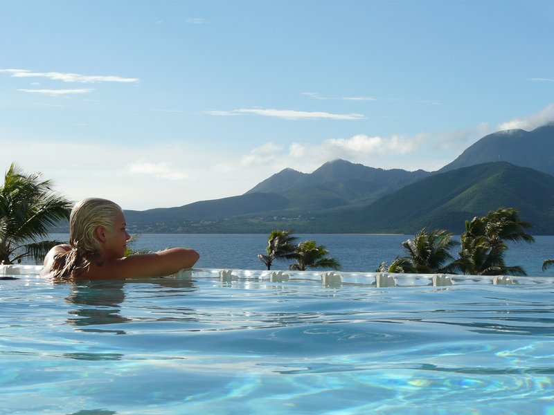 Great view of Nevis from the infinity pool
