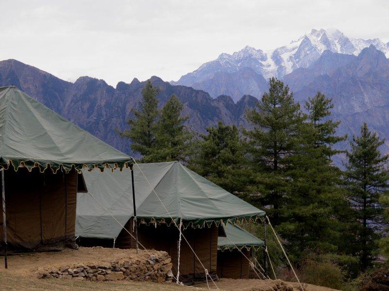 Auli Woods, lyx campingplats i ren natur med utsikt över Nanda Devi och andra Himalayas toppar
