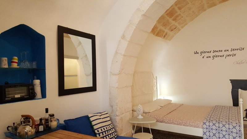 Espacioso y acogedor con habitación con techos de piedra vista original del siglo 18