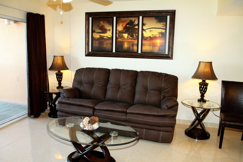 Living Room with pullout couch, large flatscreen TV & DVD player