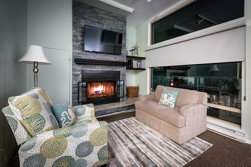 Cozy up an enjoy the ambience of a fire in our fireplace.