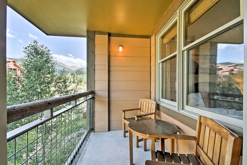 The condo features a private balcony overlooking the Fraser River.