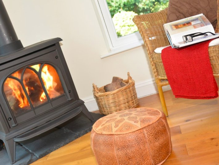 Fabulously warm gas wood burner gives heat in an instant and wonderful for a cosy night at home