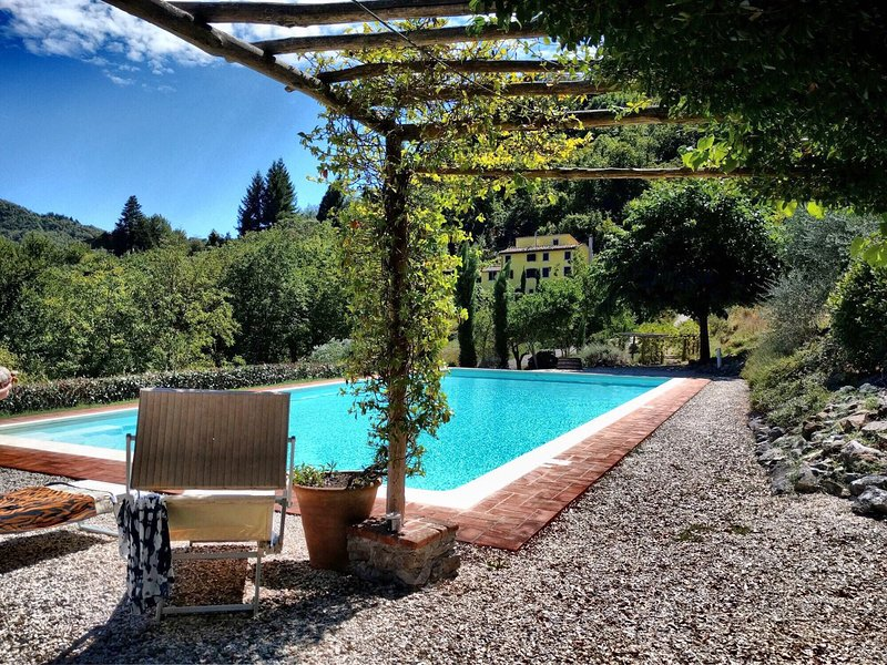 Tuscan farmhouse near Lucca, with huge private pool (120 sqm) and lovely views, Ferienwohnung in Fabbriche di Vallico