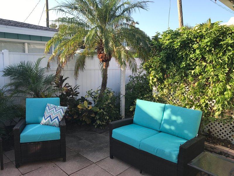 patio des sièges confortables