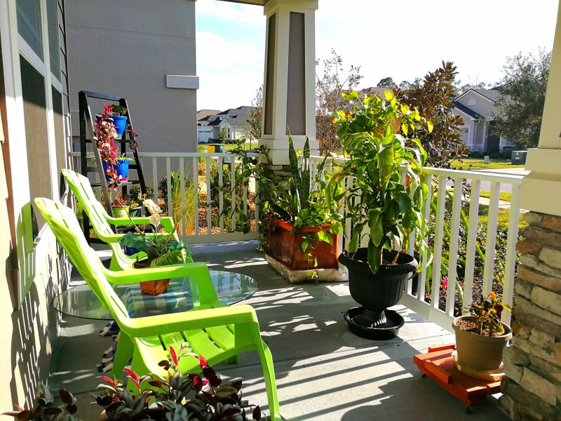 The front porch of the house.