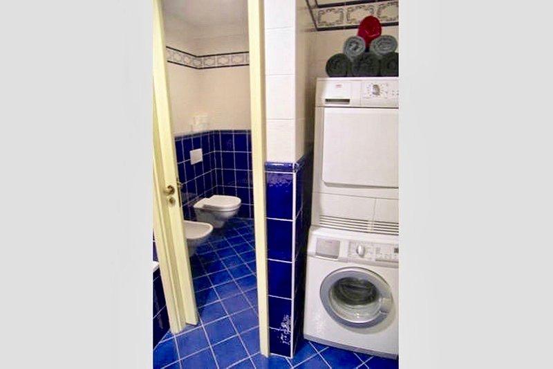 toilette separado e bidé ao lado do banheiro. Máquina de lavar e secar roupa no banheiro.