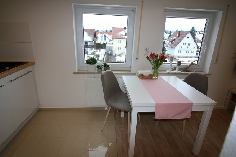 Dining table with window over Gronenbach.