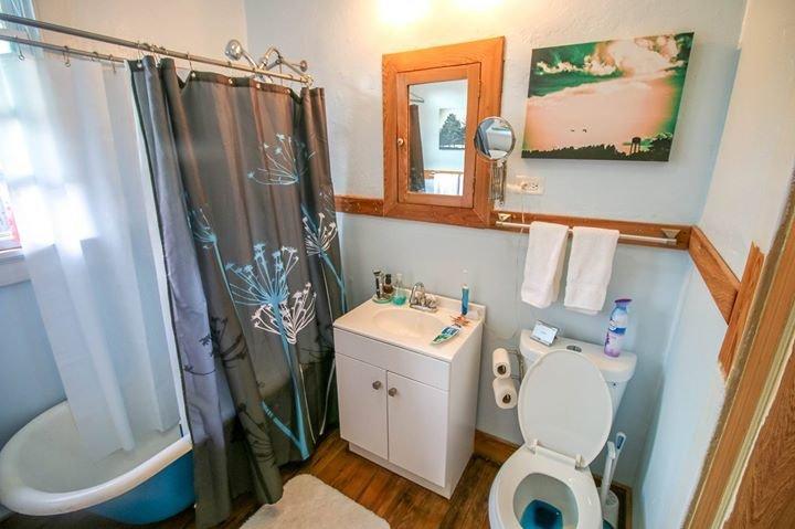 Bathroom with Claw foot tub.