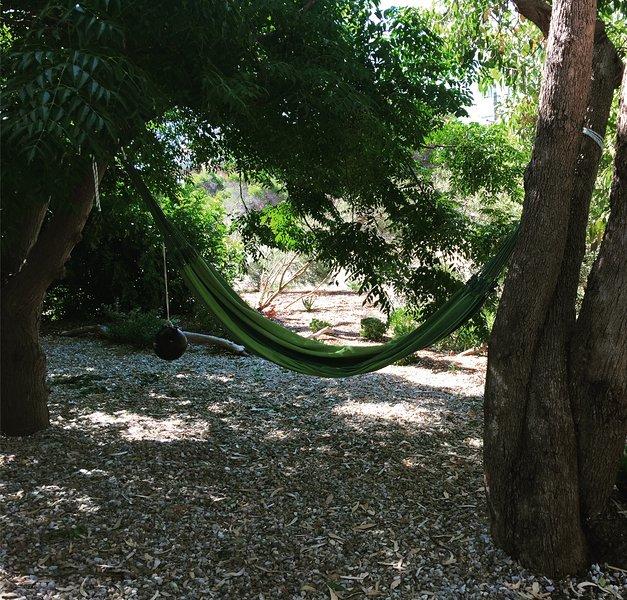 Comfy hammock and swing.